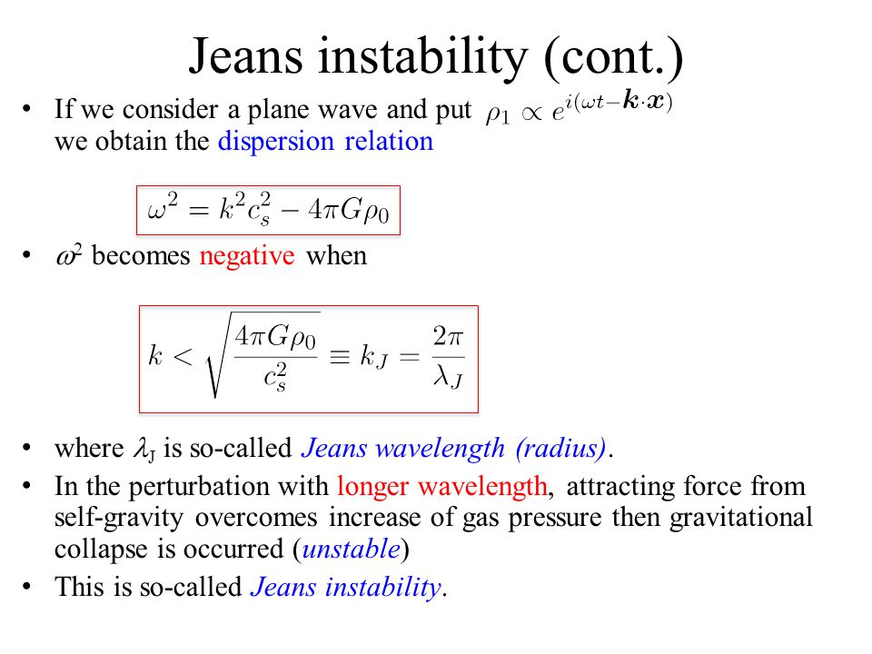 Jeans instability (cont.)