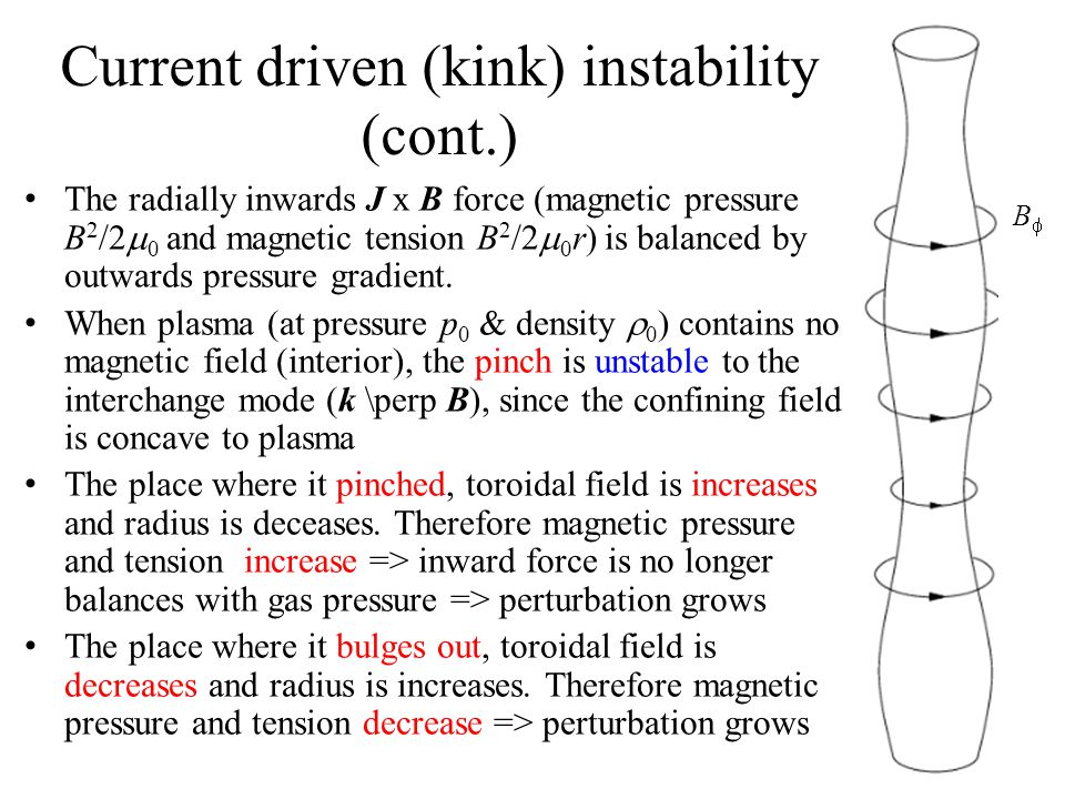 Current driven (kink) instability (cont.)