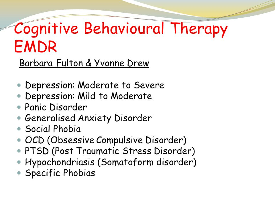 Cognitive Behavioural Therapy EMDR