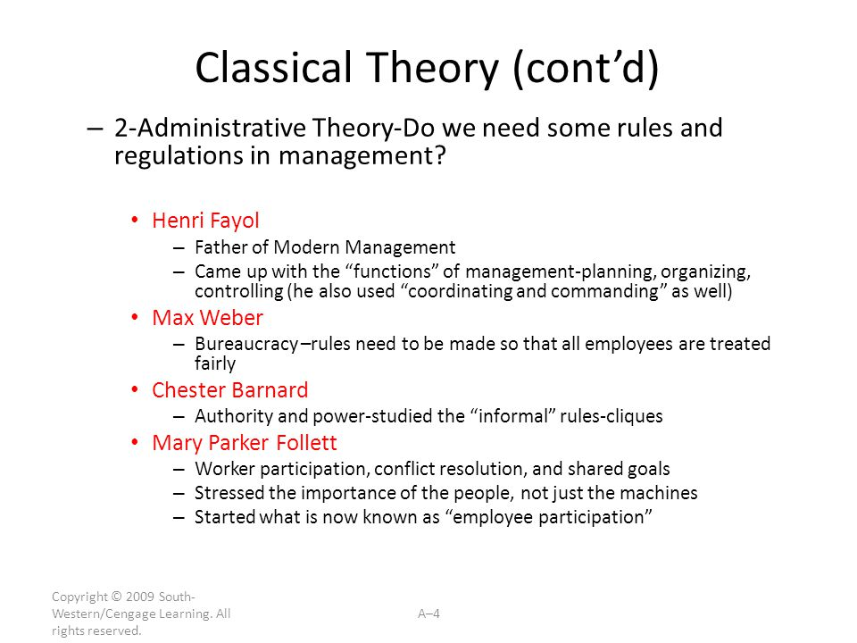 Classical Theory (cont'd)
