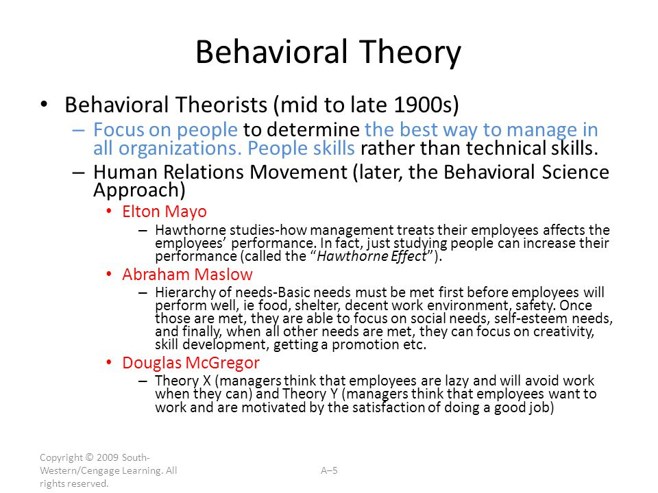 Behavioral Theory Behavioral Theorists (mid to late 1900s)