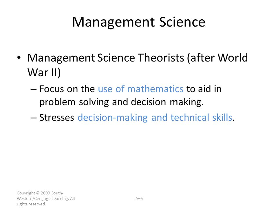 Management Science Management Science Theorists (after World War II)