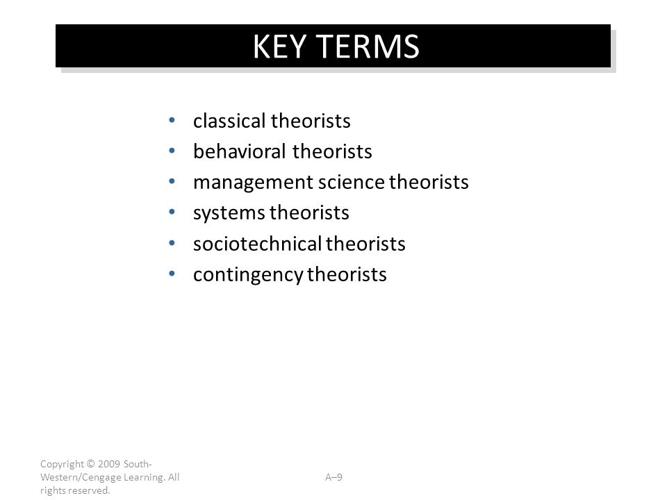KEY TERMS classical theorists behavioral theorists