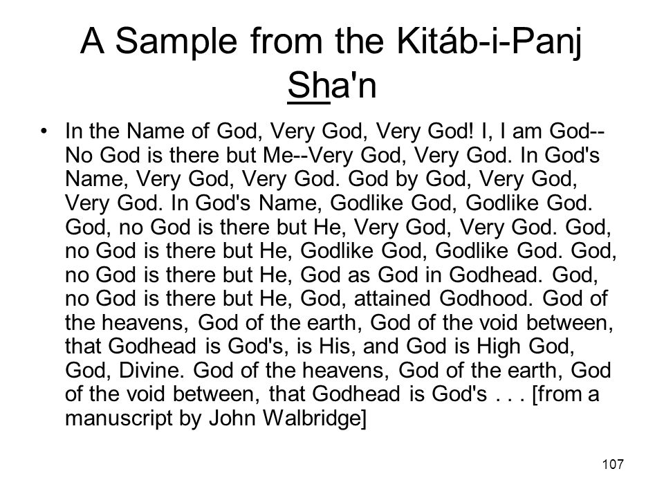 A Sample from the Kitáb-i-Panj Sha n