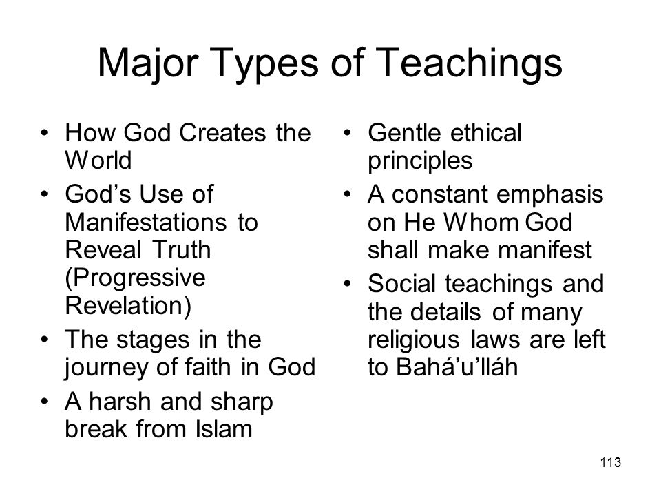 Major Types of Teachings