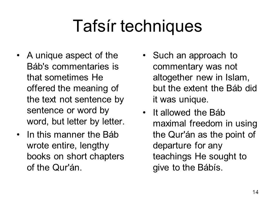 Tafsír techniques