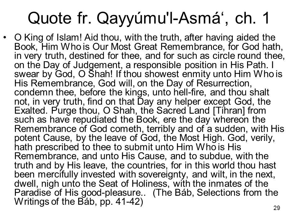 Quote fr. Qayyúmu l-Asmá', ch. 1