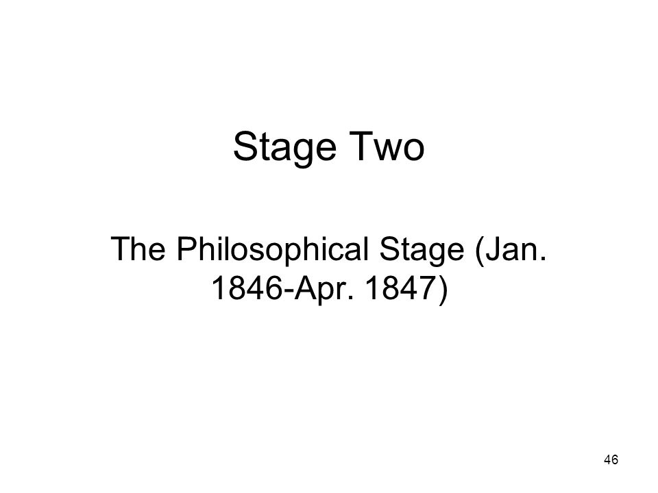 The Philosophical Stage (Jan. 1846-Apr. 1847)