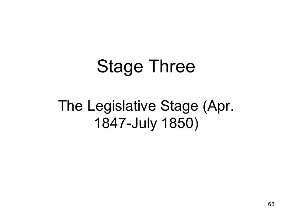 The Legislative Stage (Apr. 1847-July 1850)