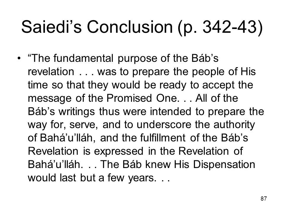 Saiedi's Conclusion (p. 342-43)