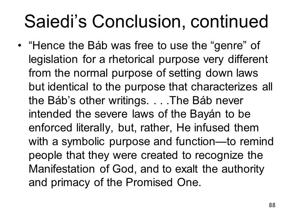 Saiedi's Conclusion, continued