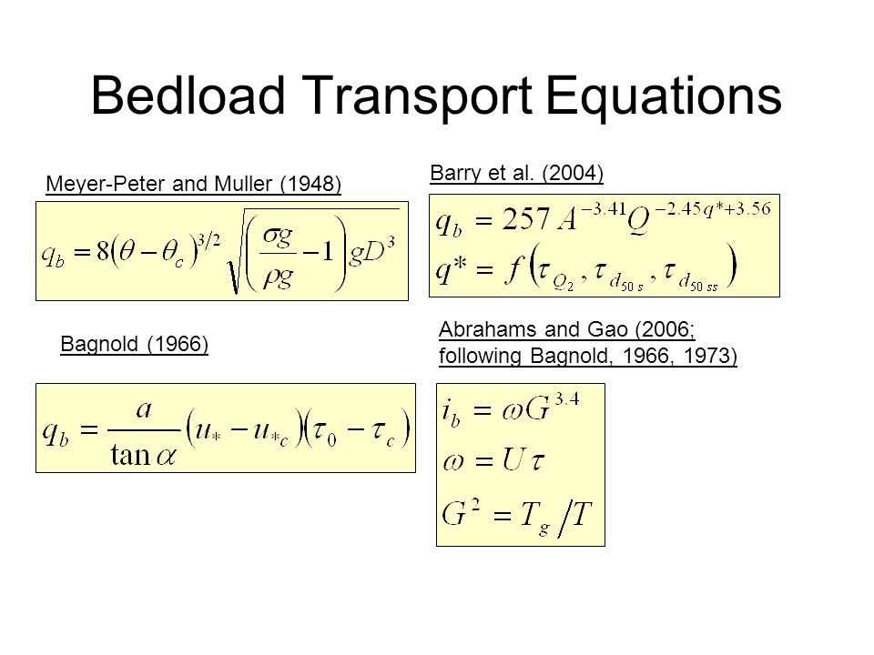 Bedload Transport Equations