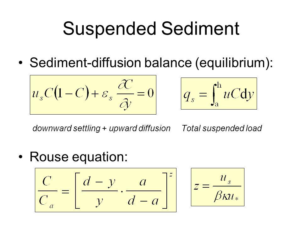 Suspended Sediment Sediment-diffusion balance (equilibrium):