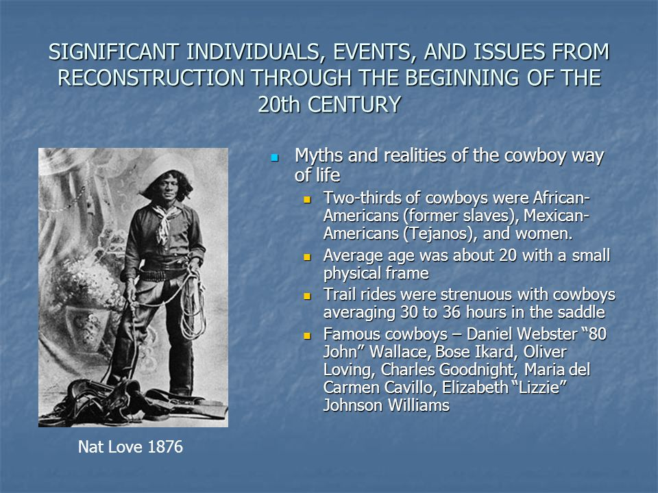 SIGNIFICANT INDIVIDUALS, EVENTS, AND ISSUES FROM RECONSTRUCTION THROUGH THE BEGINNING OF THE 20th CENTURY