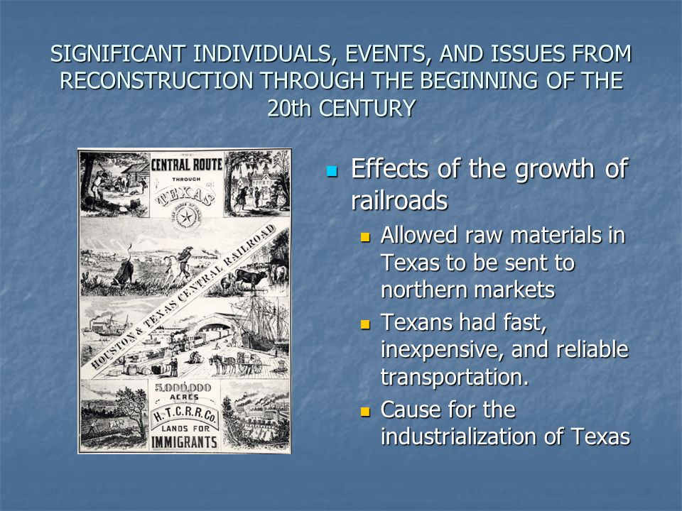Effects of the growth of railroads