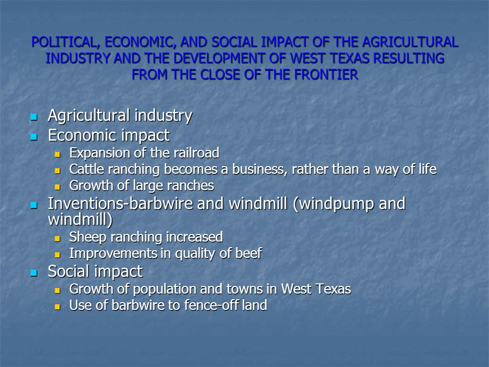Agricultural industry Economic impact