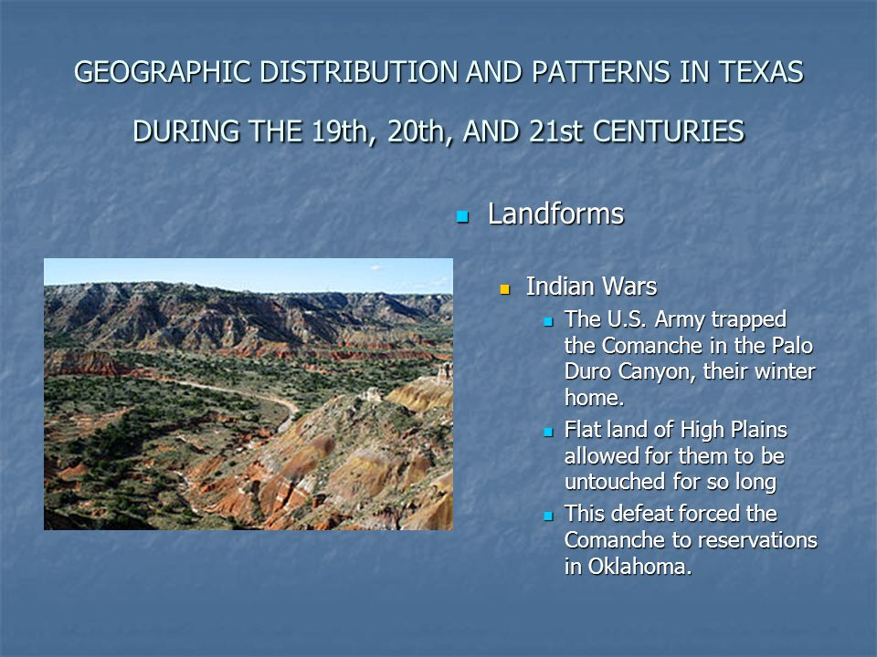 GEOGRAPHIC DISTRIBUTION AND PATTERNS IN TEXAS DURING THE 19th, 20th, AND 21st CENTURIES
