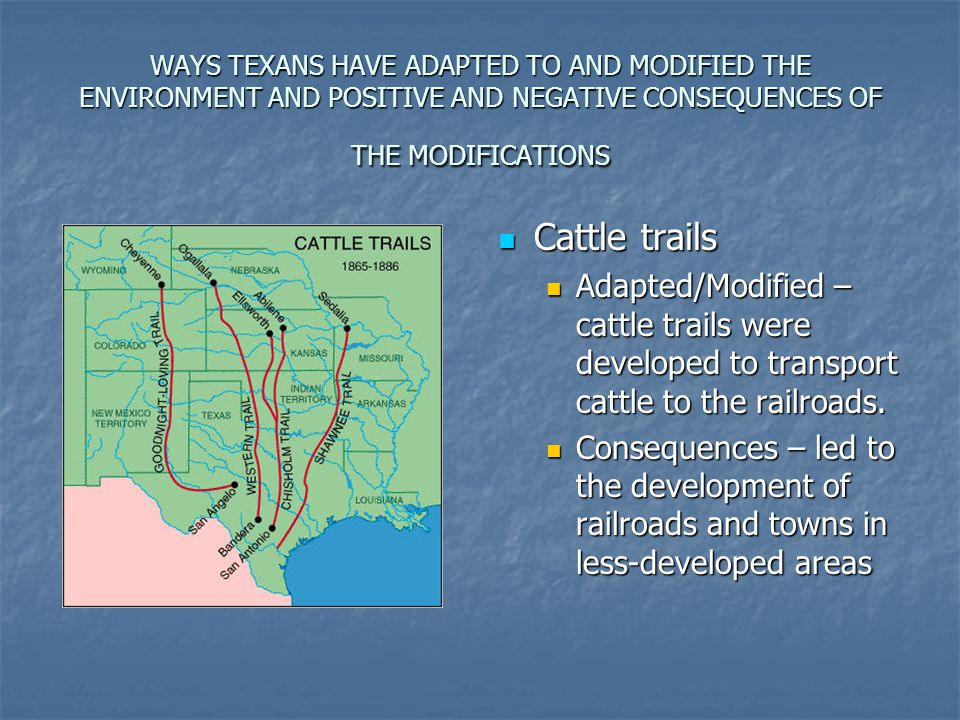 WAYS TEXANS HAVE ADAPTED TO AND MODIFIED THE ENVIRONMENT AND POSITIVE AND NEGATIVE CONSEQUENCES OF THE MODIFICATIONS