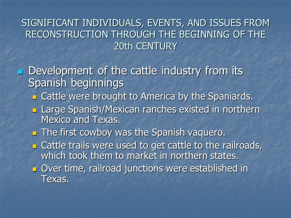 Development of the cattle industry from its Spanish beginnings