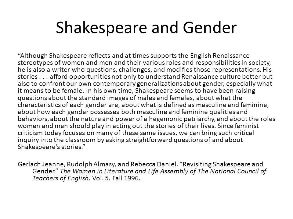 Shakespeare and Gender
