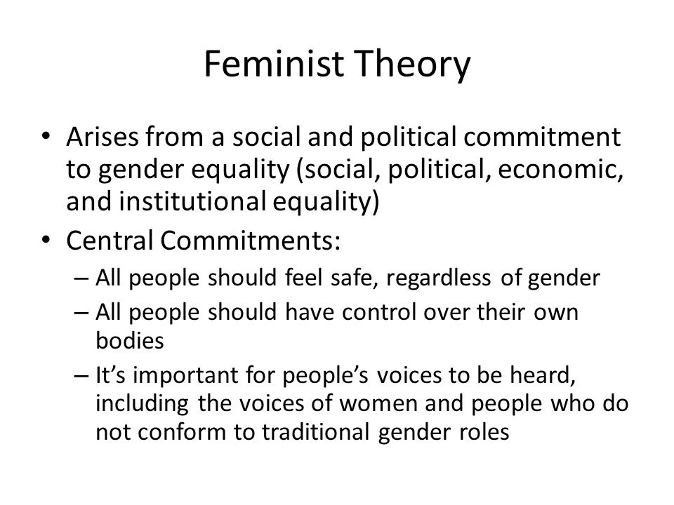 Feminist Theory Arises from a social and political commitment to gender equality (social, political, economic, and institutional equality)