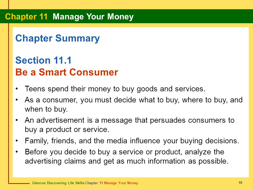 Chapter Summary Section 11.1 Be a Smart Consumer