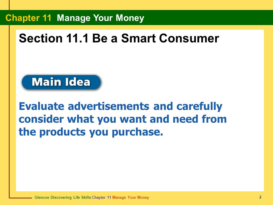 Section 11.1 Be a Smart Consumer
