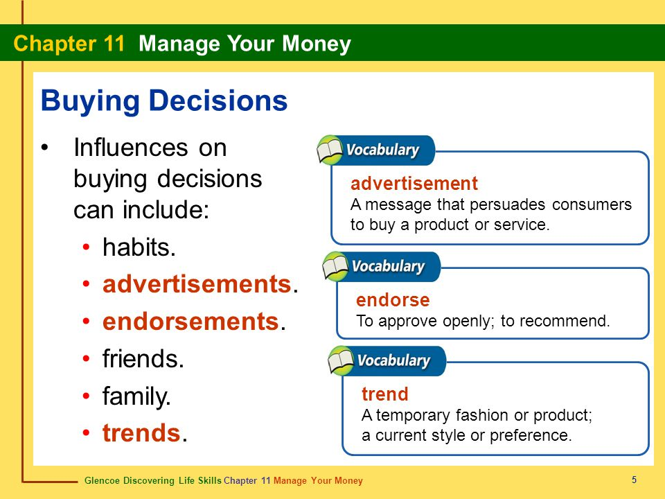 Buying Decisions Influences on buying decisions can include: habits.