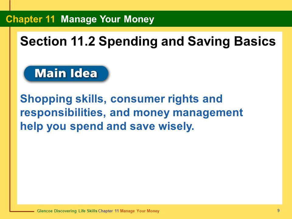 Section 11.2 Spending and Saving Basics