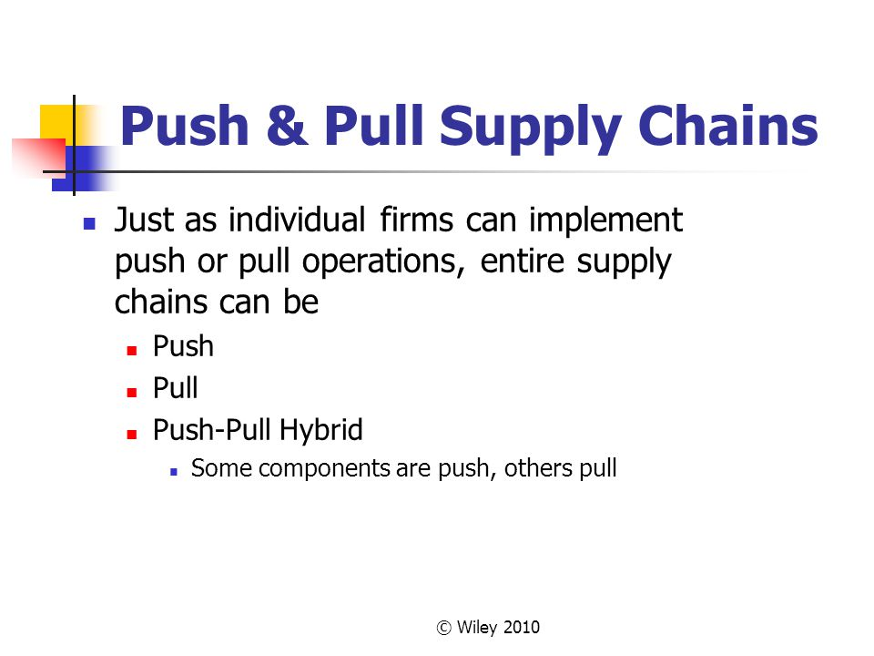 Push & Pull Supply Chains