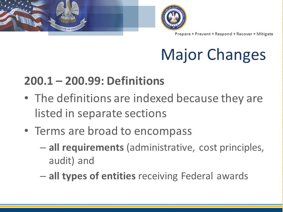 Major Changes 200.1 – 200.99: Definitions