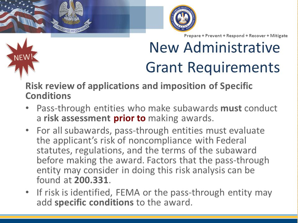 New Administrative Grant Requirements