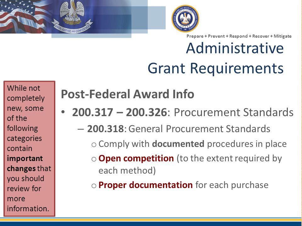 Administrative Grant Requirements