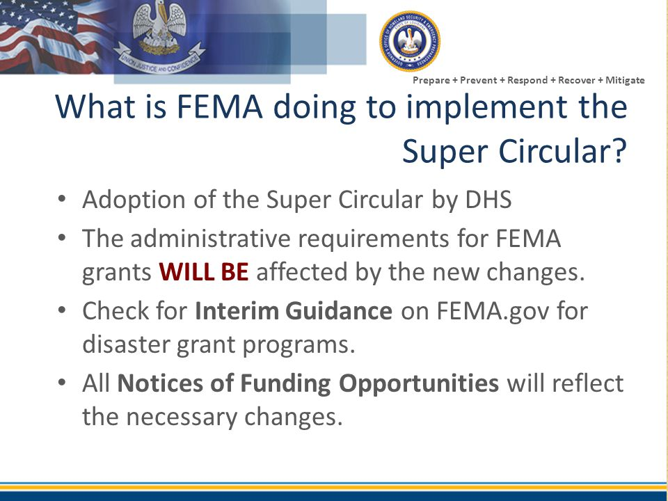 What is FEMA doing to implement the Super Circular
