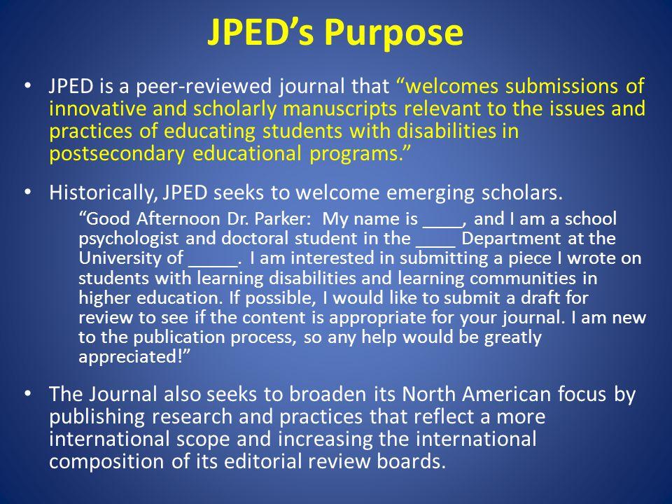 JPED's Purpose