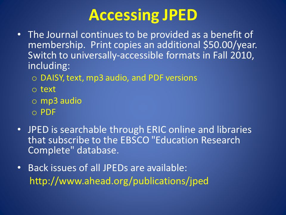Accessing JPED