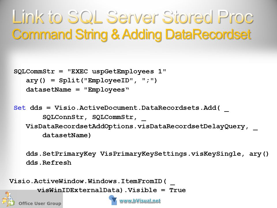 Link to SQL Server Stored Proc Command String & Adding DataRecordset