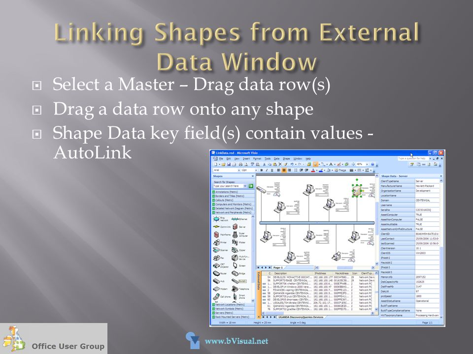 Linking Shapes from External Data Window
