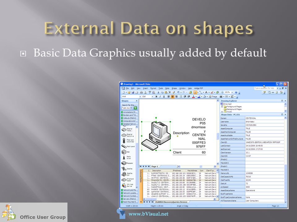 External Data on shapes