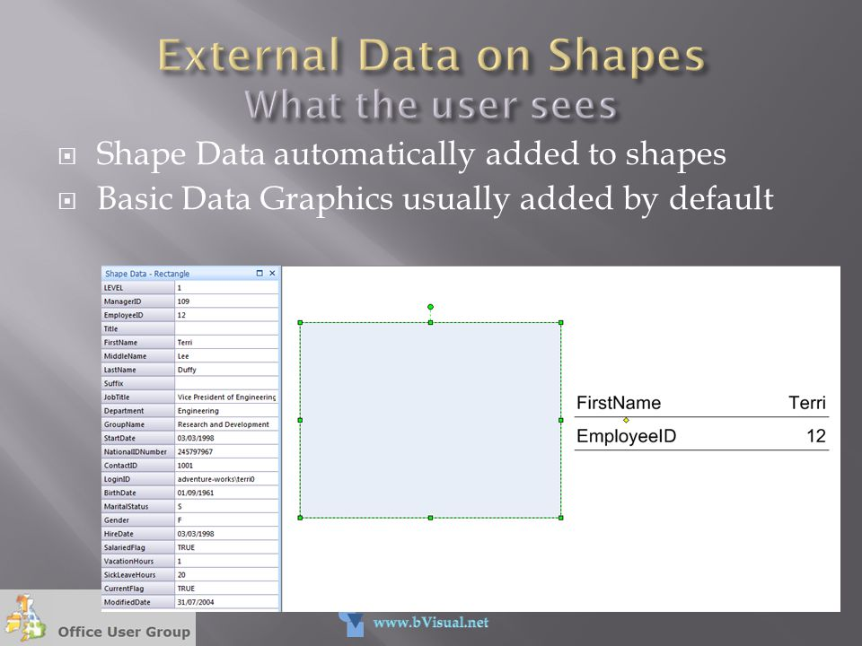 External Data on Shapes What the user sees