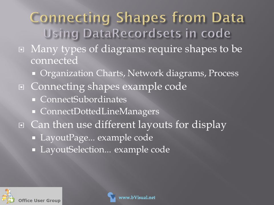 Connecting Shapes from Data Using DataRecordsets in code