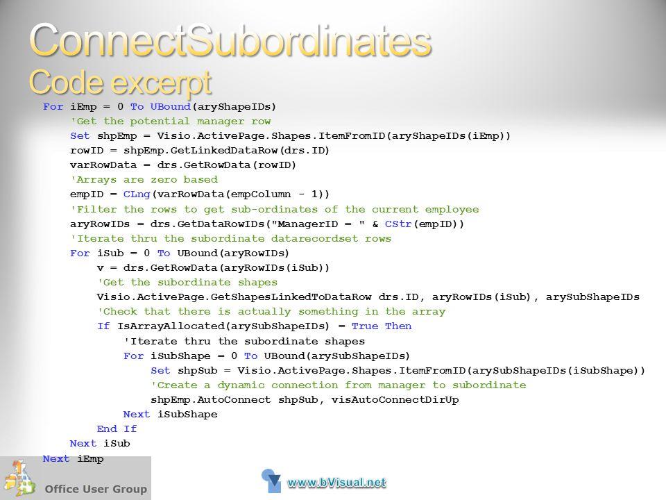 ConnectSubordinates Code excerpt