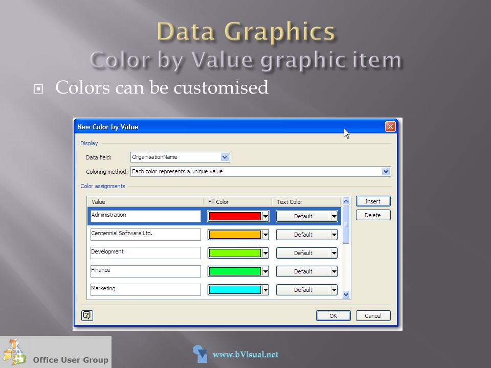 Data Graphics Color by Value graphic item