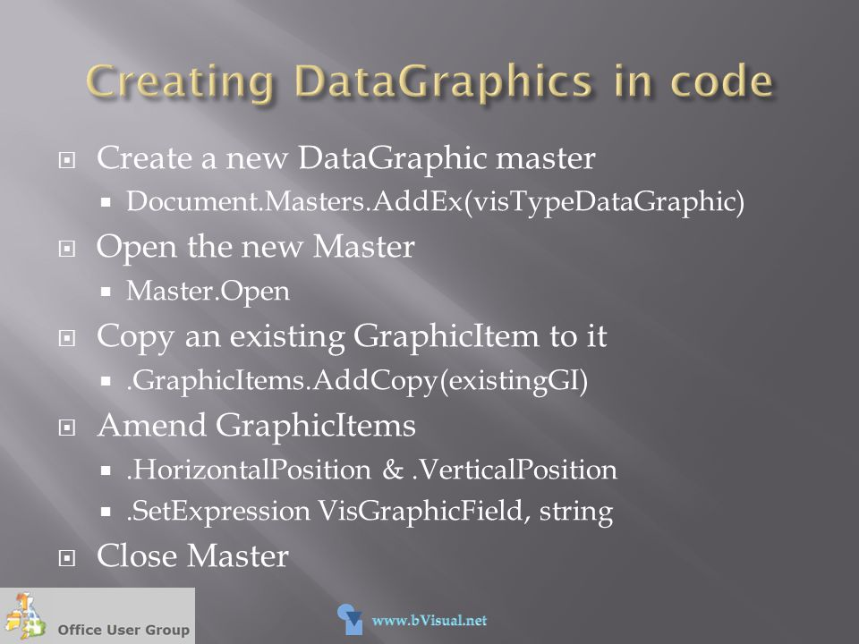 Creating DataGraphics in code