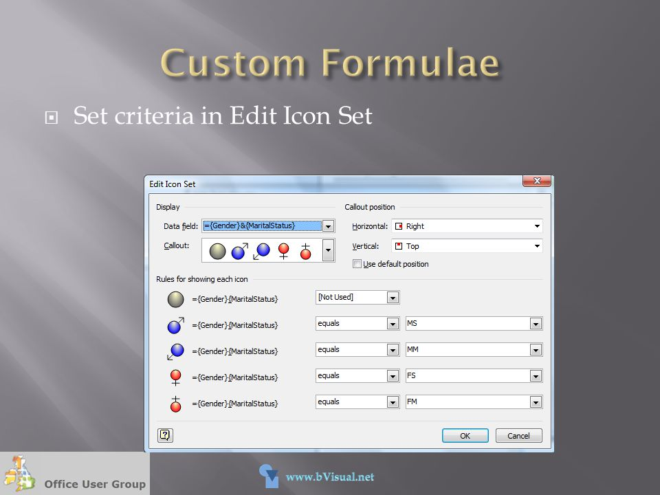 Custom Formulae Set criteria in Edit Icon Set