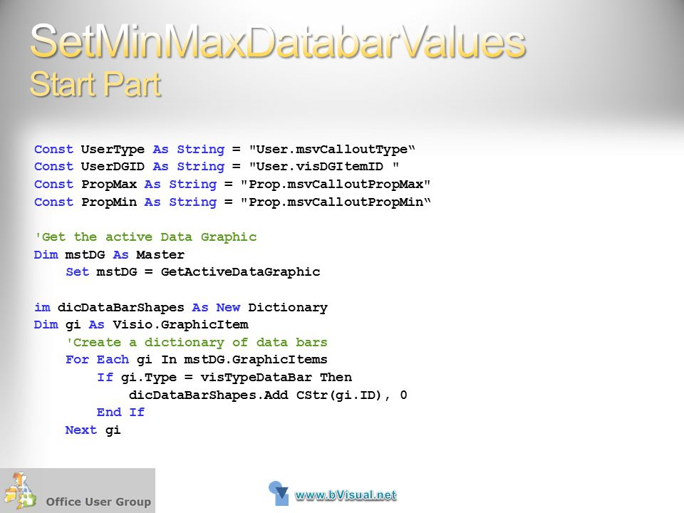 SetMinMaxDatabarValues Start Part