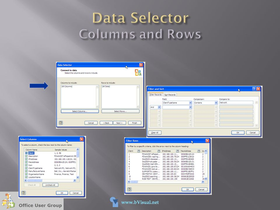 Data Selector Columns and Rows