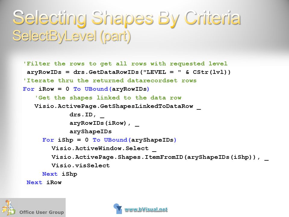 Selecting Shapes By Criteria SelectByLevel (part)
