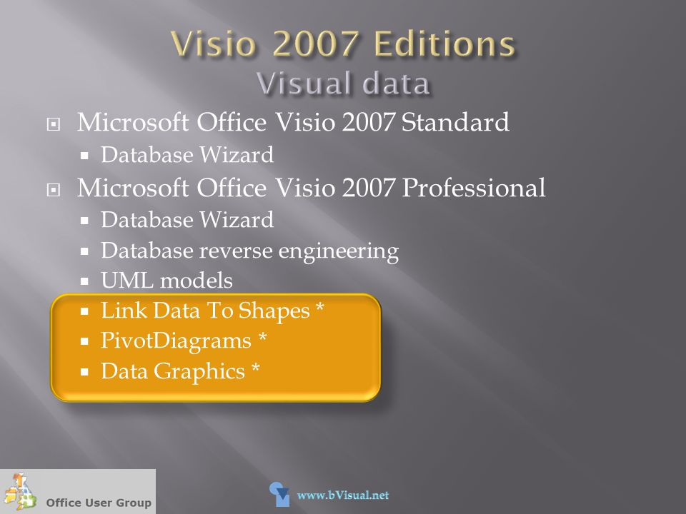 Visio 2007 Editions Visual data