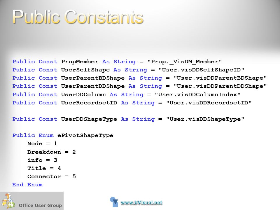 Public Constants Public Const PropMember As String = Prop._VisDM_Member Public Const UserSelfShape As String = User.visDDSelfShapeID